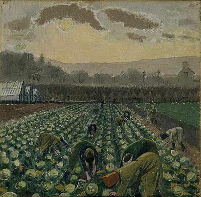 Evelyn Dunbar, 'Picking Sprouts - Monmouthshire' (Manchester City Art Galleries)